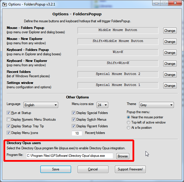 Directory Opus enabled in the Options dialog box