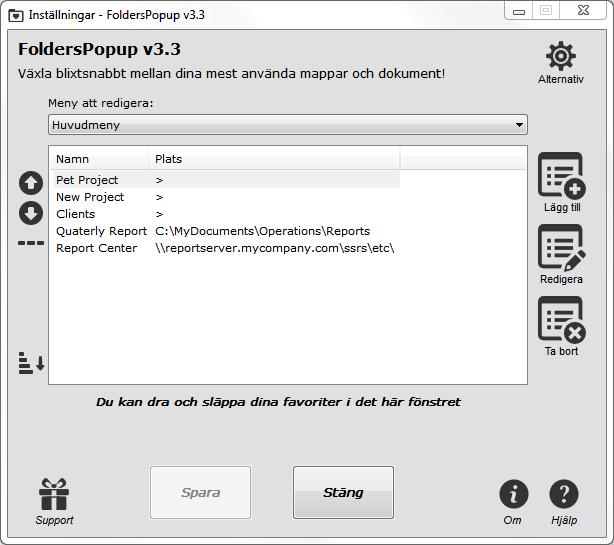 Folders Popup Settings windows in Swedish