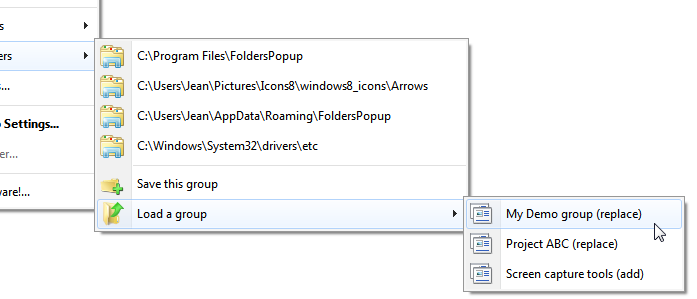 """Load a group"" menu to restore the windows from a previous work session"